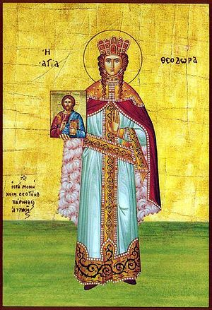 Theodora (wife of Theophilos) - Theodora as a saint, in a 19th-century Greek icon