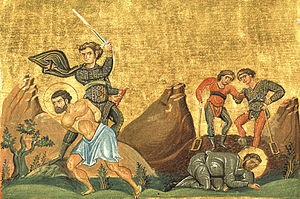 Theopemptus of Nicomedia - Painting showing Theopemptus and Theonas, from the Menologion of Basil II (c. 1000 AD)