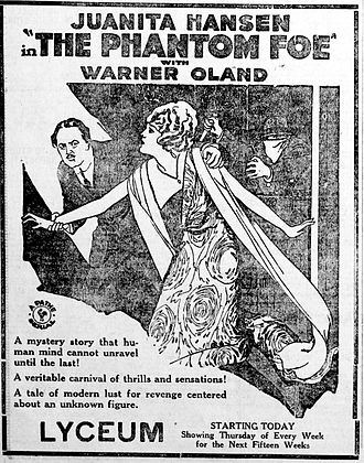 The Phantom Foe - Newspaper ad for the serial