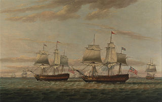 An Indiaman and a Two Decker Hove to, Said to be Thomas Dumar, Esq. in H.M. Ship 'Portland' Delivering the Leeward Island Convoy, in 1776