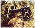 Three soldiers employing a ground mounted TOW missile hiding behind coniferous wood.jpg