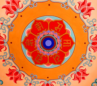 Ranjana alphabet - Mantra in Rañjanā script, on the ceiling of a Buddhist temple in Tianjin, China.