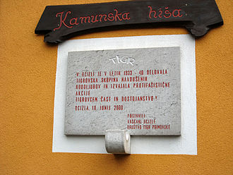 TIGR - Memorial plaque to TIGR activists in Ocizla on the Karst Plateau who were active in the 1930s