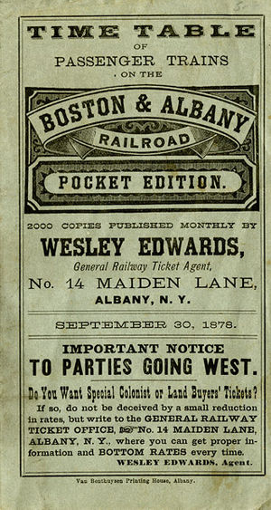 Boston and Albany Railroad - Cover of pocket timetable, 1878