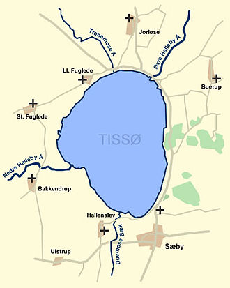 Tissø - A map of lake Tissø, the in- and outflows and the nearby towns.