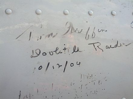 "Major Tom Griffin's signature on a B-25 operated by the Tri-State Warbird Museum Tom Griffin's signature on the ""Axis Nightmare"".jpg"
