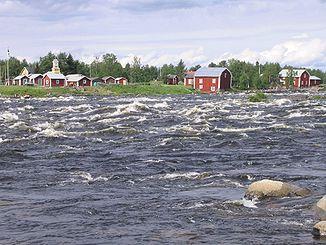Kukkolaforsen/Kukkolankoski-Stromschnellen, Blick auf das schwedische Ufer