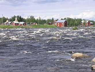 Whitewater - Vivid water of the Torne River between Sweden and Finland.