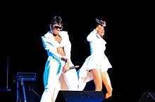 L-R: Pamela Long and Kima Raynor Dyson perform at the Legends of Bad Boy concert in Beverly Hills, California in 2014. Not pictured: Keisha Spivey Epps.