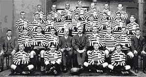 1910 Great Britain Lions tour of Australia and New Zealand - The British touring squad, who wore red and white hooped jerseys.