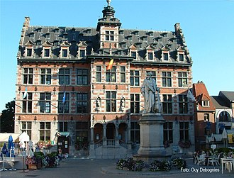 Halle, Belgium - Town hall of Halle, with the statue of cellist and composer Adrien-François Servais in front.