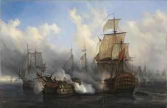 History of the British Isles - The British HMS Sandwich fires to the French flagship Bucentaure (completely dismasted) into battle off Trafalgar. The Bucentaure also fights HMS Victory (behind her) and HMS Temeraire (left side of the picture). In fact, HMS Sandwich never fought at Trafalgar, it is a mistake from Auguste Mayer, the painter.