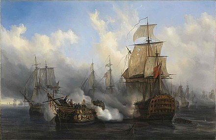 The British HMS Sandwich fires to the French flagship Bucentaure (completely dismasted) into battle off Trafalgar. The Bucentaure also fights HMS Victory (behind her) and HMS Temeraire (left side of the picture). In fact, HMS Sandwich never fought at Trafalgar, it is a mistake from Auguste Mayer, the painter. Trafalgar-Auguste Mayer.jpg