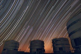 Exposure (photography) - A long exposure showing star trails around the south and north celestial poles, viewed from Paranal Observatory. (Credit: ESO)