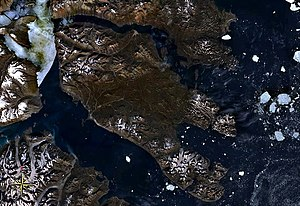 Traill Island - Traill Island seen from space. King Oscar Fjord to the south.