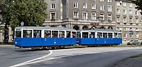 Tram Konstal N and tram trailer Konstal ND (1954), Central Square, Nowa Huta, Krakow, Poland.jpg