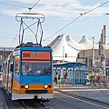 Tram in Sofia in front of Central Railway Station 2012 PD 089.jpg