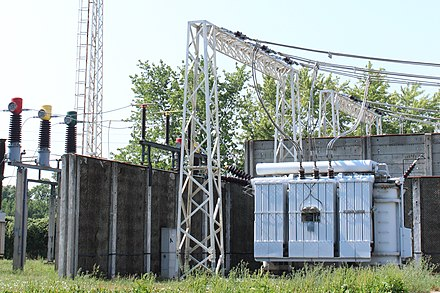 Three-phase transformer (Bekescsaba, Hungary): on the left are the primary wires and on the right are the secondary wires Transzformator-allomas.jpg
