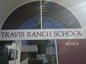 Placentia-Yorba Linda Unified School District - Main entrance of the Travis Ranch campus, a building that houses the school's administrative offices, library, and some elementary classrooms