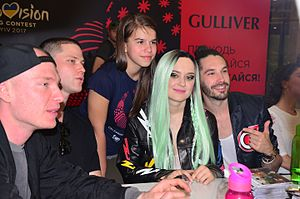 Latvia in the Eurovision Song Contest 2017 - Triana Park with a fan at a meet and greet for Eurovision 2017