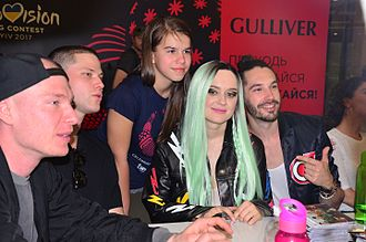 Triana Park - Triana Park with a fan at a meet and greet for Eurovision 2017 in Kiev, Ukraine.