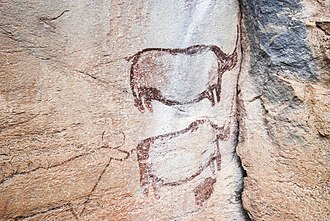 Botswana - The 'Two Rhino' painting at Tsodilo. Botswana Rock Art.