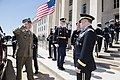 U.S. Army Gen. Martin E. Dempsey, right, chairman of the Joint Chiefs of Staff, welcomes Polish Army Gen. Mieczyslaw Gocul, chief of the general staff of Poland's armed forces, to the Pentagon, April 28, 2015 150428-D-HU462-014.jpg