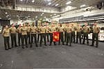 U.S. Marines with the command element of the 24th Marine Expeditionary Unit, participating in Warrior of the Month event, pose for a photo in the hangar bay of amphibious assault ship USS Iwo Jima (LHD 7) May 1 120501-M-RO494-243.jpg