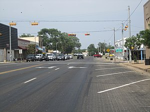U.S. Route 79 in Texas - U.S. 79 is the main street of Rockdale in Milam County, Texas.