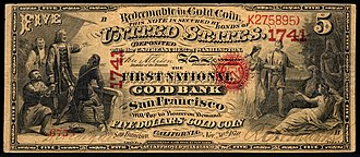 National gold bank note - Image: US NBN CA San Francisco 1741 1870 5 6758 B (obverse only)