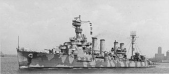 USS Cincinnati (CL-6) - USS Cincinnati (CL-6) off New York City 8 July 1942.