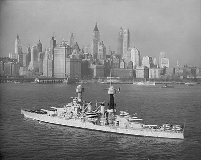 "USS Colorado (BB-45) steams off lower Manhattan, circa 1932. The battleship had just undergone an overhaul, including the installation of new 5""/25 caliber anti-aircraft guns. She would later provide earthquake relief at Long Beach, California, search for Amelia Earhart, and fight in World War II."