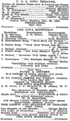 extract from a newspaper article from NY Times listing the entertainment program by the crew of the USS Iowa while visiting South America