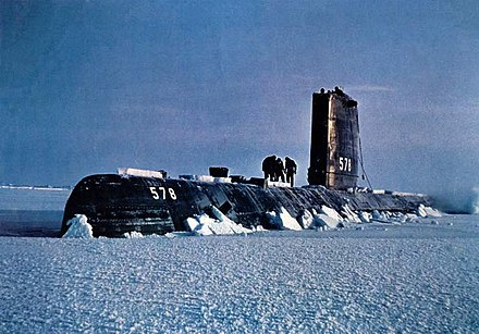 USS Skate at drift station Alpha, 1958 USS Skate (SSN-578) surfaced in Arctic - 1959.jpg