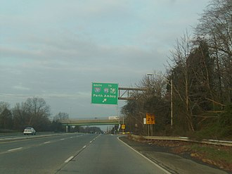 U.S. Route 22 in New Jersey - US 22 westbound at ramp for southbound I-287 in Bridgewater Township