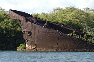 USS LST-480 - The rusting remains of LST-480.