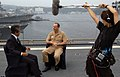 US Navy 050921-N-7923C-040 Commander, U.S. Seventh Fleet, Vice Adm. Jonathan Greenert, speaks with TV Tokyo news reporter Yoshiki Hidaka aboard Greenert's flagship USS Blue Ridge (LCC 19).jpg