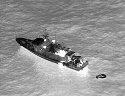 US Navy 060204-N-0000N-001 Infrared imagery taken from a U.S. Navy P-3C Orion maritime patrol aircraft, assisting in search and rescue operations for survivors of the Egyptian ferry Al Salam Boccaccio 98 in the Red Sea