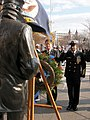 US Navy 061207-N-2529H-003 Master Chief Petty Officer of the Navy (MCPON) Joe R. Campa Jr. renders a salute after laying a wreath in front of the Lone Sailor in honor of the 65th anniversary of attack on Pearl Harbor.jpg