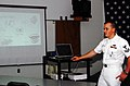US Navy 070719-N-2143T-002 Hospital Corpsman 2nd Class Joseph Garling, assigned to Naval Hospital Bremerton, teaches Sailors about anger management at the Bangor Naval Brig Correctional Custody Unit.jpg