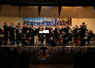 Big band - The United States Navy Band Northwest (NBNW) Big Band plays at a concert held in Oak Harbor High School.