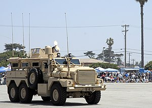 Naval Base Ventura County - A Seabee convoy security team performs a firepower demonstration at Naval Base Ventura County