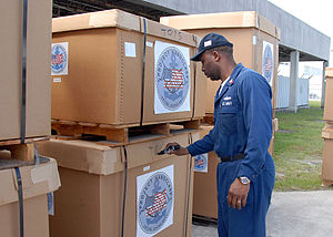 Bulk box - Humanitarian aid shipped in pallet boxes.  Cover secured with strapping