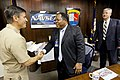 US Navy 100225-N-8863V-299 Capt. Jay Kadowaki, left, commanding officer of the Corona Division of Naval Surface Warfare Center (NSWC), and Dr. William Luebke, right, technical director for NSWC Corona, welcome Deputy Secretary.jpg