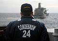 US Navy 100331-N-1559J-004 Capt. Aaron C. Jacobs oversees an underway replenishment.jpg
