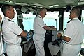US Navy 100719-N-8273J-003 Chief of Naval Operations (CNO) Adm. Gary Roughead, middle, tours the bridge of the French navy aircraft carrier PA Charles de Gaulle (R 91) with senior naval leadership.jpg