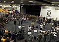 US Navy 100809-N-4153W-342 Latin singer Carolina La O and the U.S. Air Force band, Nueva Armonia, entertain Sailors, Soldiers and Marines in the hangar bay of the multipurpose amphibious assault ship USS Iwo Jima (LHD 7).jpg