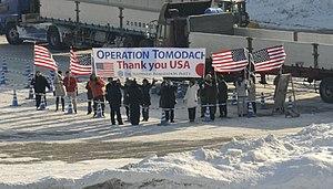 US Navy 120203-N-XG305-397 Residents of Tomakomai, Japan welcome the U.S. 7th Fleet flagship USS Blue Ridge.jpg