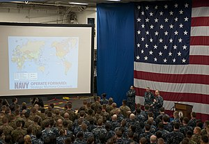 US Navy 120204-N-YF306-078 Chief of Naval Operations (CNO) Adm. Jonathan Greenert holds an all-hands call with Sailors and Marines aboard the amphi.jpg