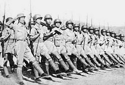US equipped Chinese Army in India marching